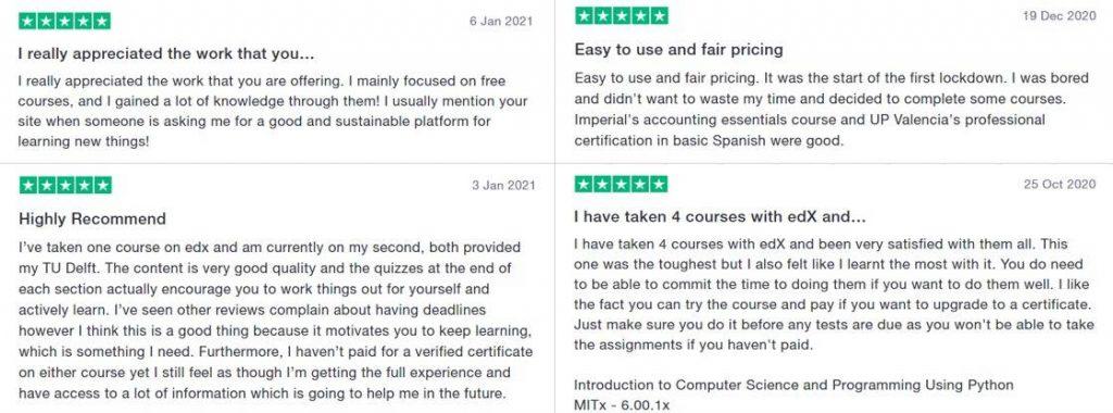 edX course customer reviews
