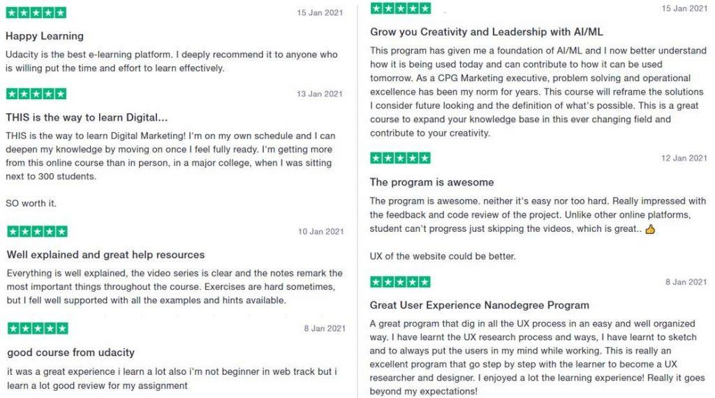 Udacity courses customer reviews