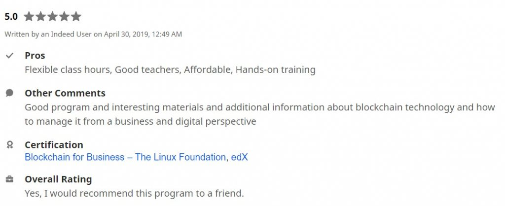 Linux Foundation students review